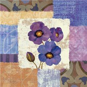 Tiled Poppies II - Purple