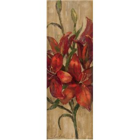 Vivid Red Lily on Gold