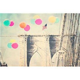Bright balloons on bridge