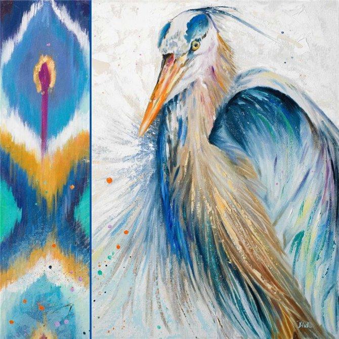 Blue Heron Ikat II