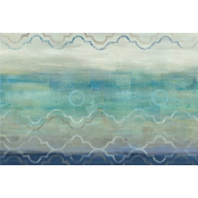 Abstract Waves Blue-Gray Landscape