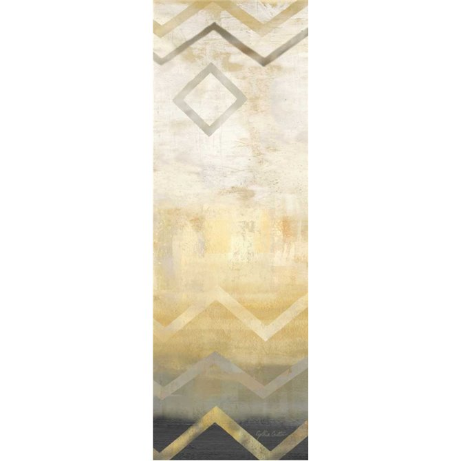 Abstract Waves Black-Gold Panel I