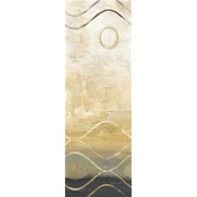 Abstract Waves Black-Gold Panel II