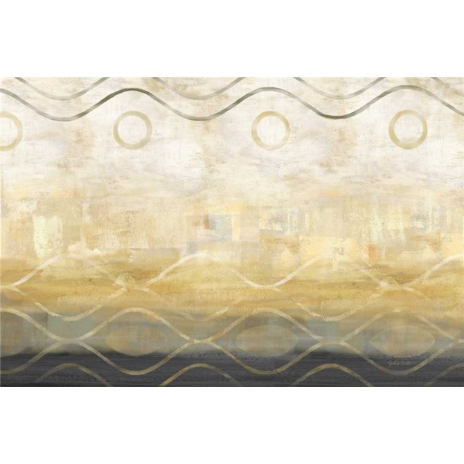 Abstract Waves Black-Gold Landscape
