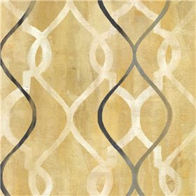 Abstract Waves Black-Gold Tiles II