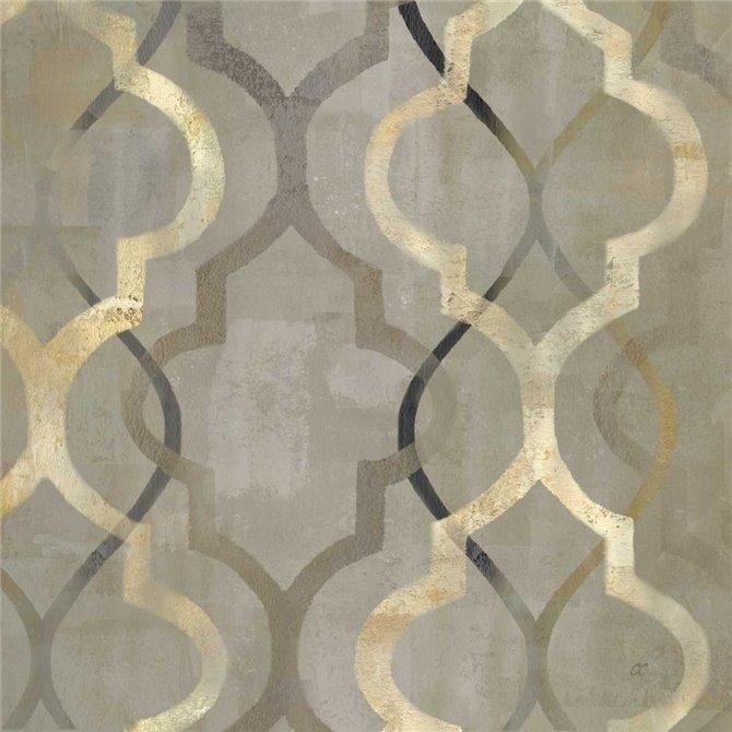 Abstract Waves Black-Gold Tiles III