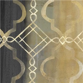 Abstract Waves Black-Gold Tiles IV