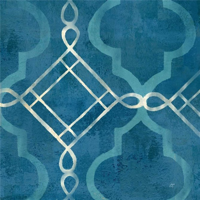 Abstract Waves Blue-Gray Tiles I