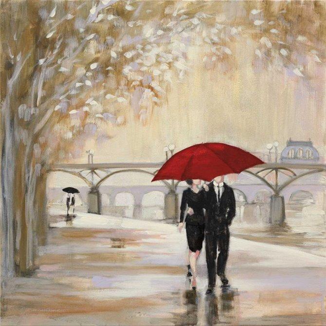 Romantic Paris III Red Umbrella