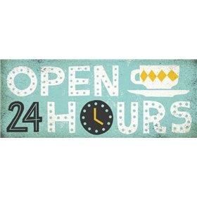 Retro Diner Open 24 Hours Panel