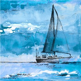 Coastal Boats in Watercolor I