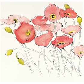 Black Line Poppies I Watercolor