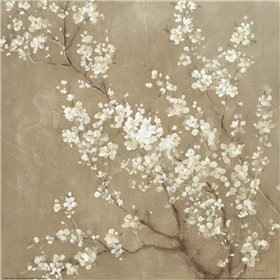 White Cherry Blossoms II Neutral Crop