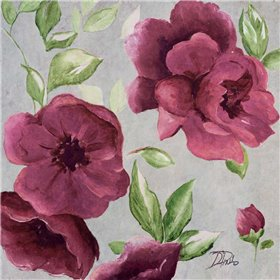 Gray and Plum Florals I