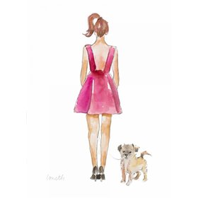 Water Color Girl With Puppy I