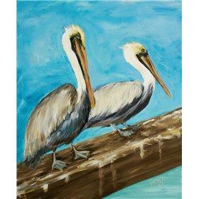 Two Pelicans on Dock Rail