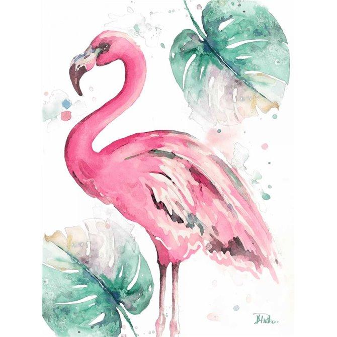 Watercolor Leaf Flamingo I