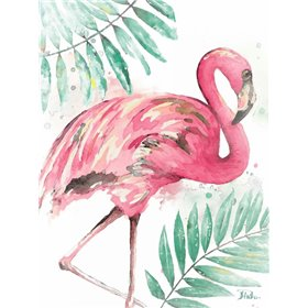 Watercolor Leaf Flamingo II