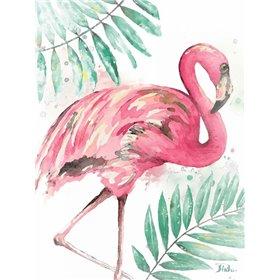 Watercolor Leaf Flamingo II