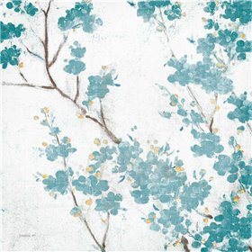 Teal Cherry Blossoms II on Cream Aged no Bird