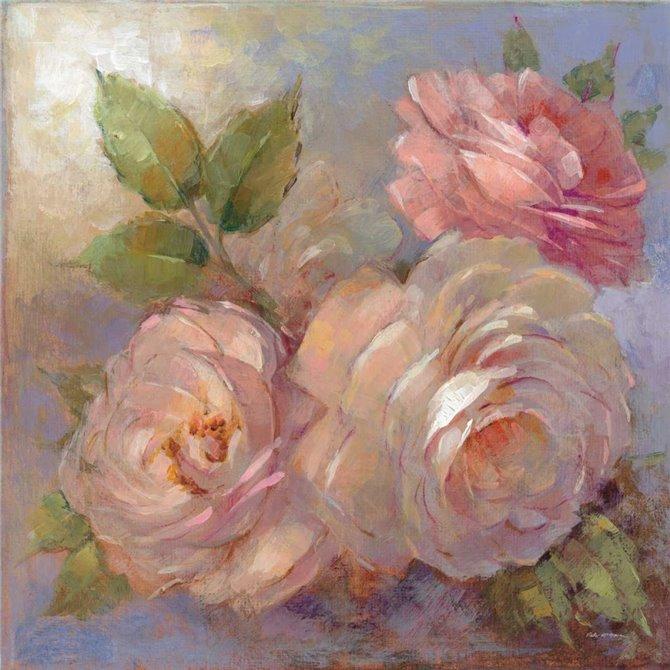 Roses on Blue II Crop