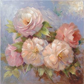 Roses on Blue III Crop