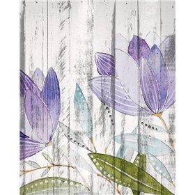 Purple Floral on Wood 1