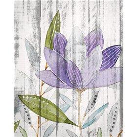 Purple Floral on Wood 2