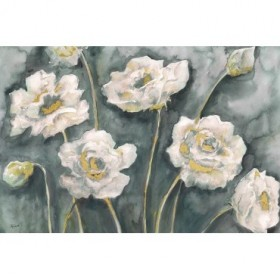 Gray and White Floral Landscape