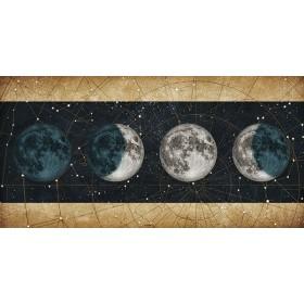Cuadro Fases de la Luna NOCHE con barras DORADO