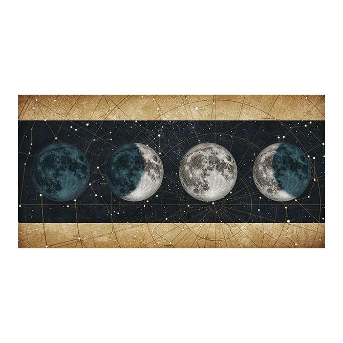 MFZ-0026 Cuadro Fases de la Luna NOCHE con barras DORADO