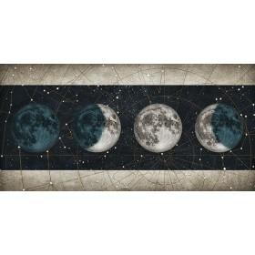 Cuadro Fases de la Luna NOCHE con barras BLANCO