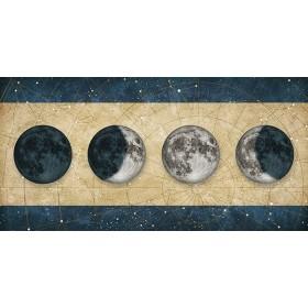 Cuadro Fases de la Luna DORADO con barras AZUL