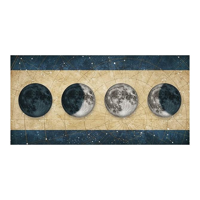 MFZ-0023 Cuadro Fases de la Luna DORADO con barras AZUL