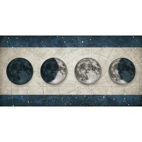 Cuadro Fases de la Luna BLANCO con barras AZUL