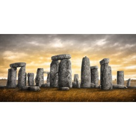MFZ-0014 Cuadro Ilustración Stonehenge DORADO ATARDECER - OTOÑO