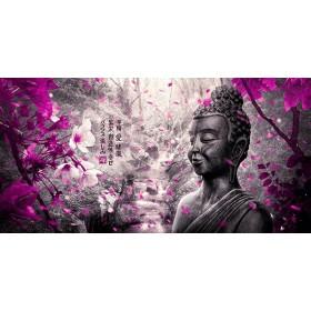 MFZ-0004 Cuadro Paisaje Zen con Buda y Flores - FUCSIA