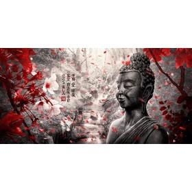 MFZ-0003 Cuadro Paisaje Zen con Buda y Flores - ROJO