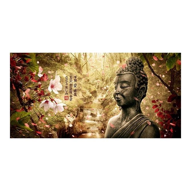 MFZ-0001 Cuadro Paisaje Zen con Buda y Flores - COLOR
