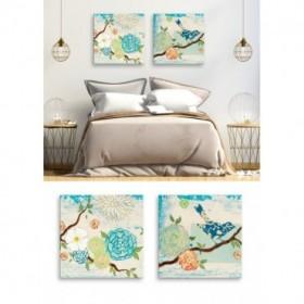 Juego 2 cuadros flores y pájaro