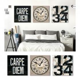 J3-M00-Juego de 3 Lienzos Industrial Chic Carpe Diem - Clock - Numbers