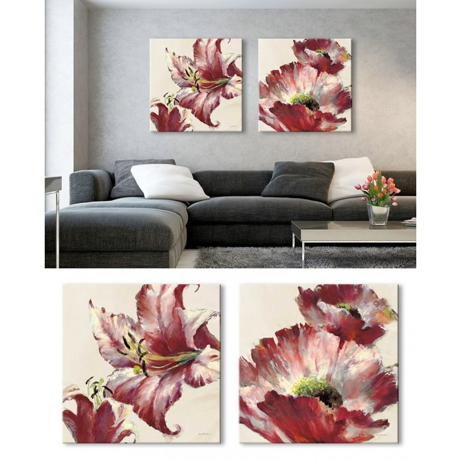 Juego de 2 Cuadros Flores - Blooming Lily On Cream - Lush Poppy On Cream