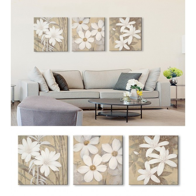 Juego de 3 Lienzos Modern White-Pale-Cream Blossoms