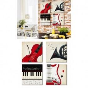 J2J2-M00-Juego de 4 Lienzos Cuadrados Violin Play-Horn-Piano-Guitar Play