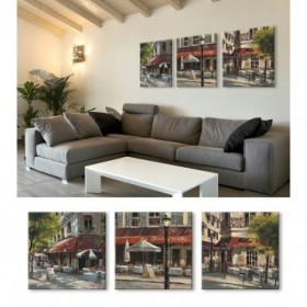 J3-M00-Juego de 3 Lienzos Mattina Terrace - Latin Quarter - Corner Cafe