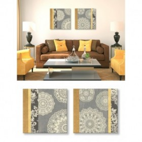 Juego de 2 Lienzos - Contemporary Lace I - Yellow Grey