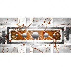 EMO-003-Cuadro Abstracto Esferas Metal sobre Naranja