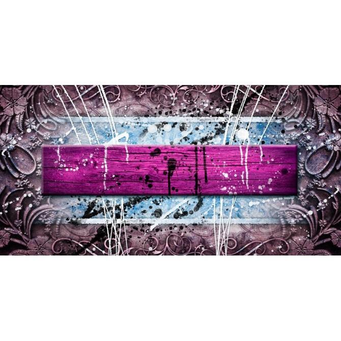 EMO-013 Cuadro Abstracto con Madera y Salpicaduras