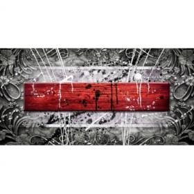 EMO-012 Cuadro Abstracto con Madera Roja y Salpicaduras