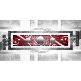 EMO-002- Cuadro Abstracto Esferas Metal sobre Rojo